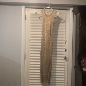 Gold mesh cover up dress